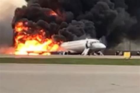 moscow plane fire horror blaze  emergency landing