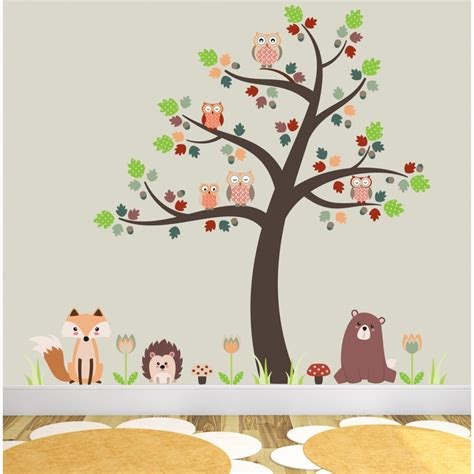 owl wall stickers for nursery fox and owls nursery wall stickers