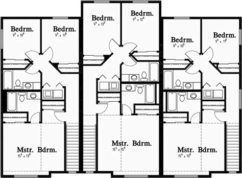 multiplex house plans triplex house plans 3 unit house plans multiplex plans t 399