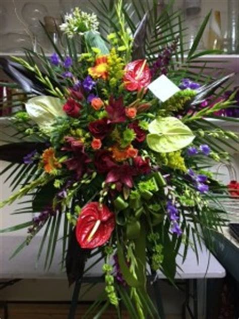 Funeral spray with tropical flowers Funeral Stand