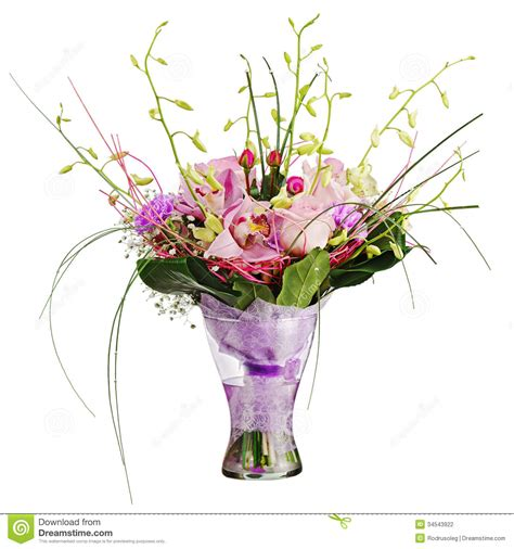 How To Make A Bouquet In A Vase by Colorful Flower Bouquet In Vase Isolated On White