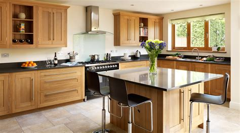 woodworks abbotsford open plan oak shaker kitchen from harvey jones