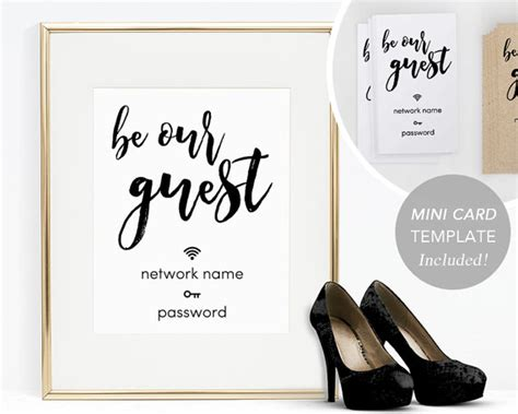 Wifi Password Card Template by Wifi Password Sign Printable Wifi Sign Template Home Wifi