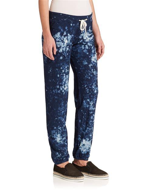 Drawstring Printed Sweatpants lyst monrow printed drawstring sweatpants in blue