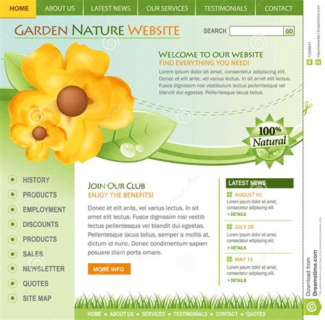 Green Nature Flower Website Template Royalty Free Stock Photography Image 15096847 Flower Website Templates