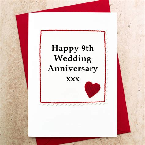 9th Wedding Anniversary Quotes For by Handmade 9th Wedding Anniversary Card By Arnott