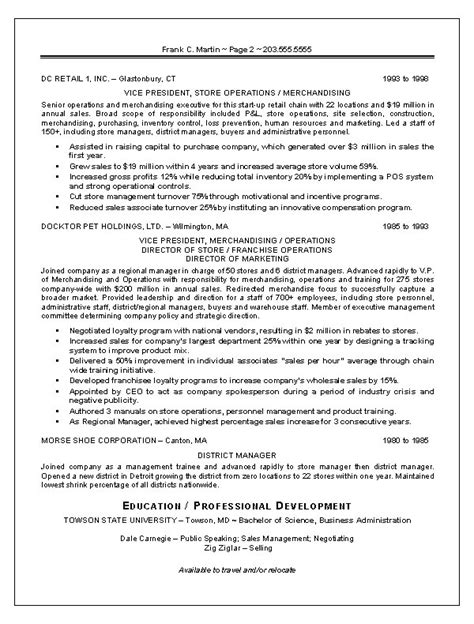 Resume Sles For Experienced Professionals In Marketing Marketing Sales Resume