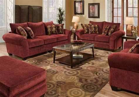 Burgundy Loveseat by Burgundy Fabric Sofa Loveseat Set W Graphic Throw Pillows
