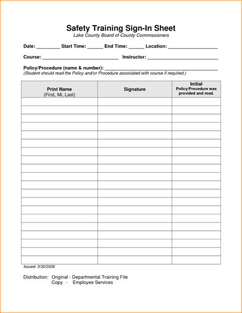 tailgate safety meeting template toolbox talk sign in sheet best template design images
