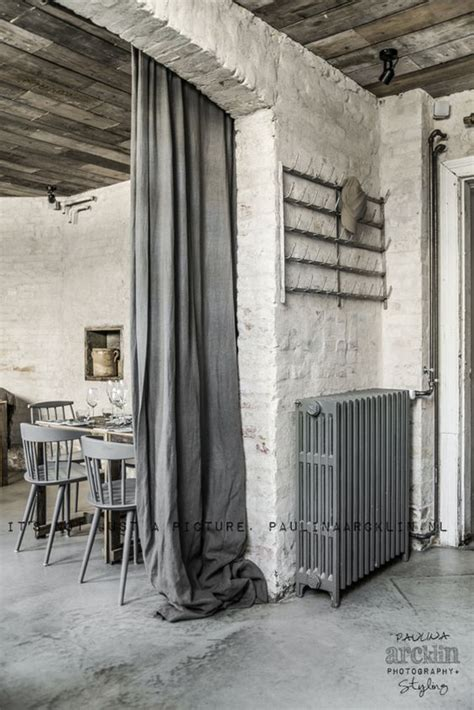 Industrial Style Curtains Oh My Exposed Floorboards Rustic Walls Floor Weathered Wood Gathered Drapes