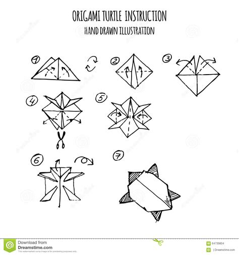 3d Origami Step By Step Illustrations - illustration step by step of turtle origami