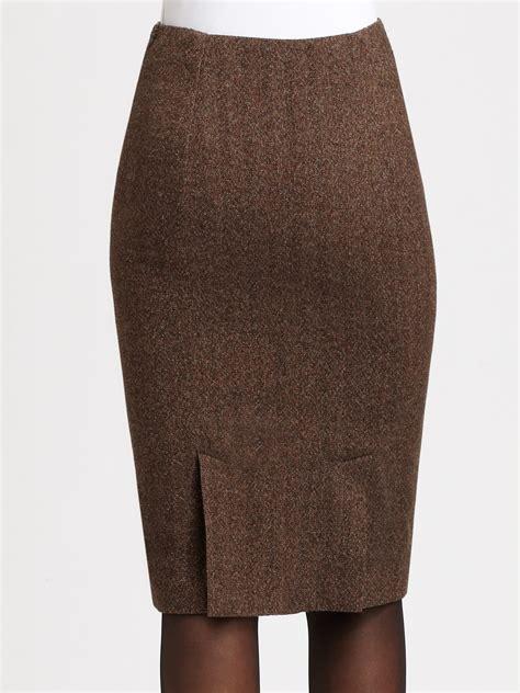 brown patterned pencil skirt lyst ralph lauren black label tweed pencil skirt in brown