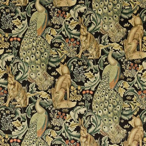 William Morris Upholstery Fabric by William Morris Forest Fabric Velvet Charcoal 222535