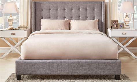 madison light gray upholstered wingback king platform bed