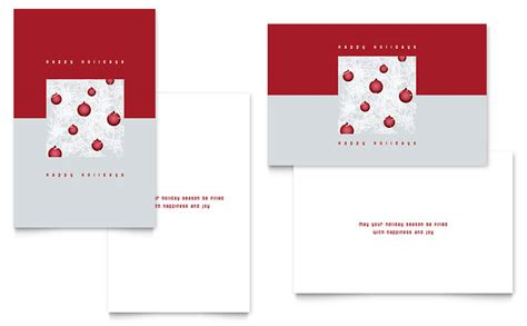 Red Ornaments Greeting Card Template Word Publisher Greeting Card Templates