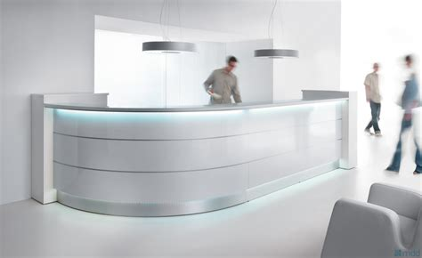 white curved reception desk curved reception desk with illumination valde 3212mm