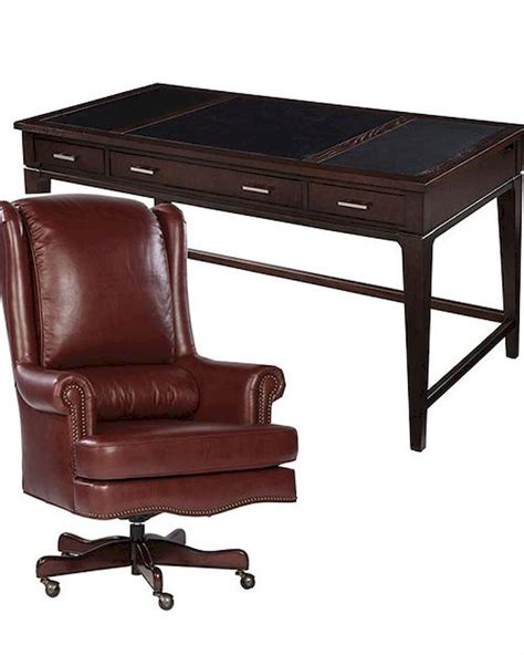 hekman desk leather top office set w ash leather top desk by hekman he