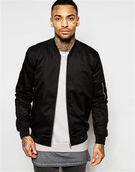 Jaket Bomber Black lyst asos bomber jacket in black black in black for