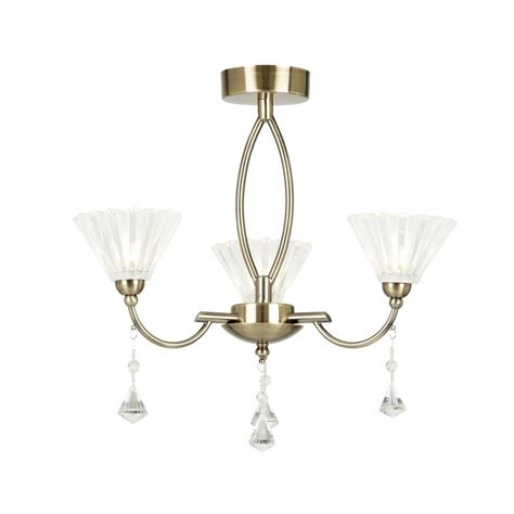 arkin 3ab 3 light ceiling fitting in antique brass