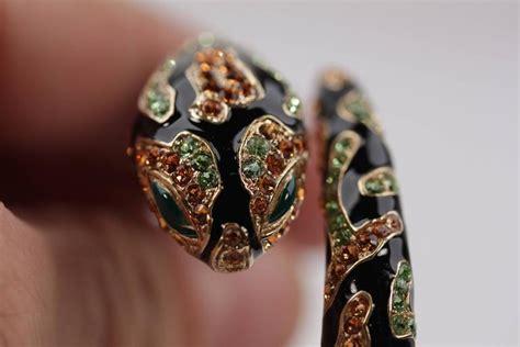 Robert Cavallis Enamel Serpent Bangle by Roberto Cavalli Italian Gold Metal Snake Bracelet Black