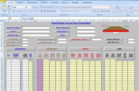 Earthwork Estimating Spreadsheet by Earthwork Excel Template Sheet Xls Civil Engineering