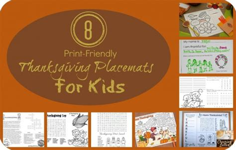 printable turkey placemat a printable collection of thanksgiving placemats for kids
