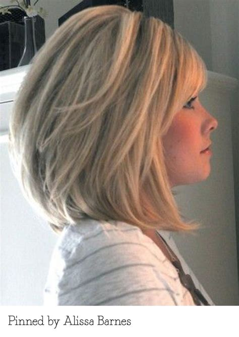 long layed and angled bob with side bang hairstyles long layered bob with bangs pinned by alissa barnes