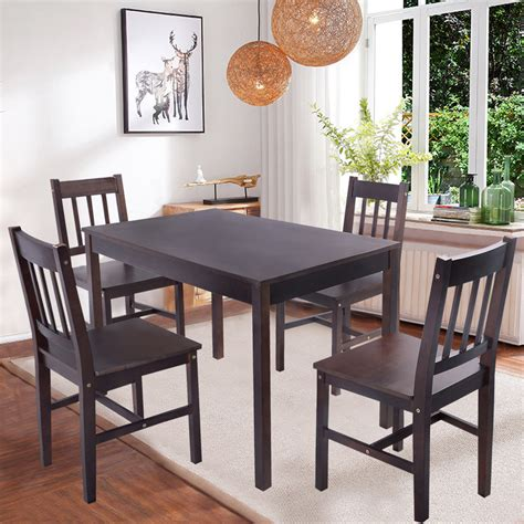 Wood Kitchen Table And Chairs Solid Wooden Pine Dining Table And 4 Chairs Set Kitchen Room Home Furniture New Ebay