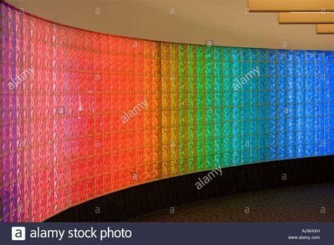 glasses that block fluorescent lights curved glass block brick wall with colored fluorescent