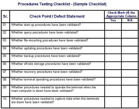 testing procedures template procedures testing defects checklist software testing genius