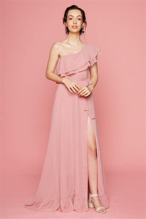 zoo fashion online bonita one sided ruffle maxi dress