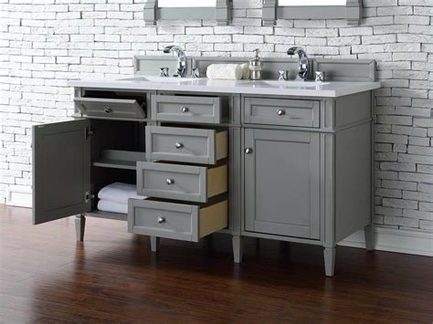 Contemporary 60 Inch Double Sink Bathroom Vanity Gray Dual Bathroom Vanities