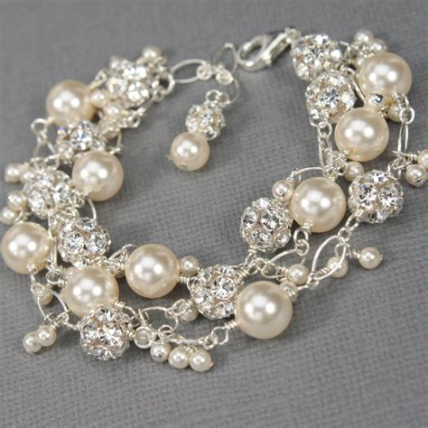 And Bracelet pearl and charm bracelet unique bridal jewelry