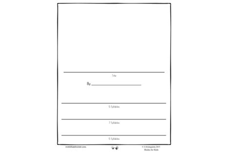 Haiku Pattern Template haiku writing for with printable template books for