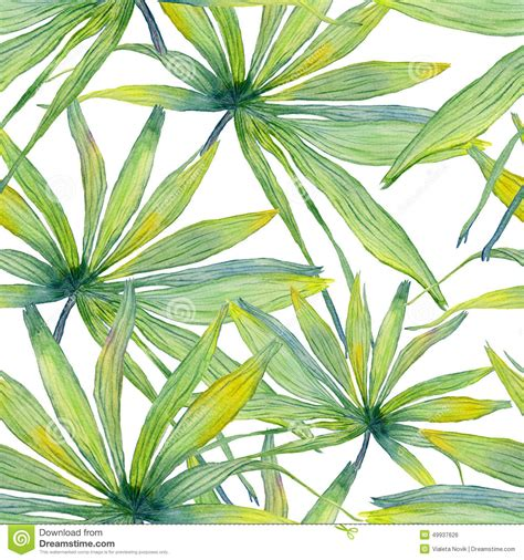 watercolor tropical pattern watercolor palm leaf seamless pattern stock illustration