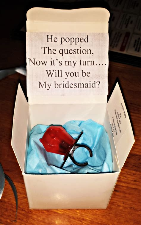 be my ideas for boyfriend quot he popped the question quot bridesmaid ring pop idea