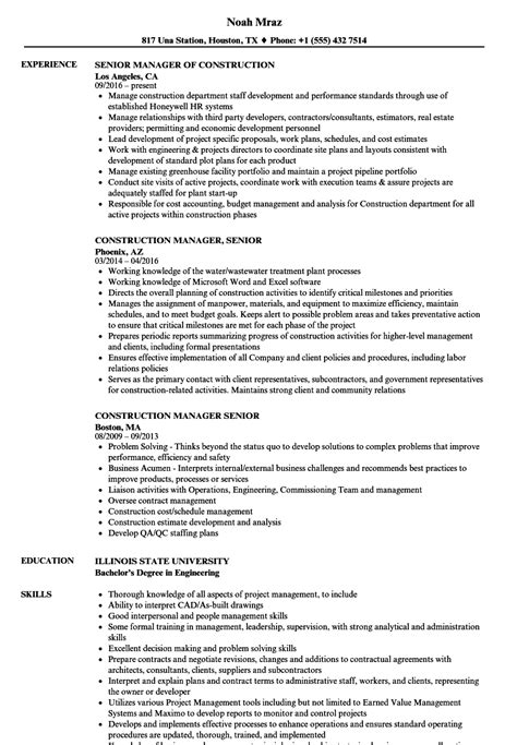 Construction Manager Resume by Construction Manager Senior Resume Sles Velvet