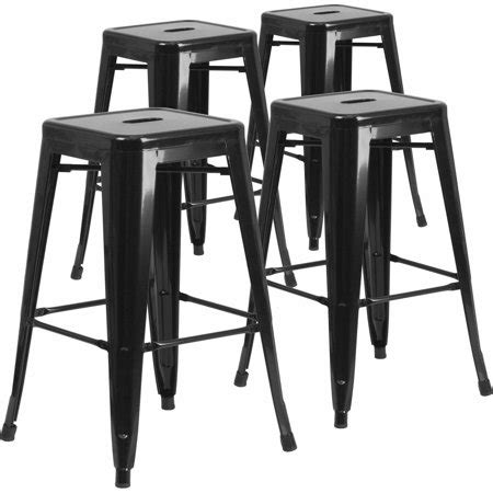 Outdoor Metal Backless Bar Stools by Flash Furniture 30 Quot High Backless Metal Indoor Outdoor