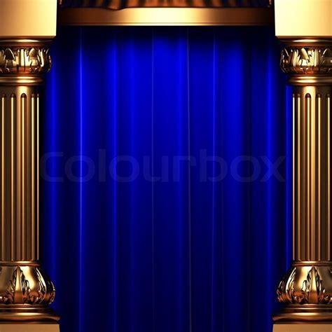 blue velvet curtains   gold columns