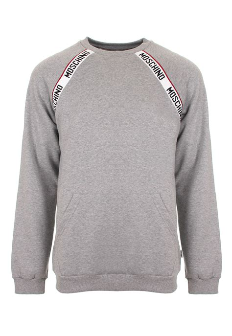 Moschino Sweatshirt moschino mens logo sweatshirt grey in gray for lyst