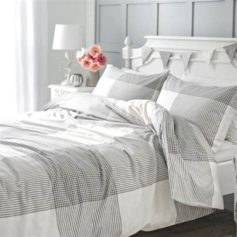 grey cotton comforter grey check brushed cotton duvet set by marquis dawe