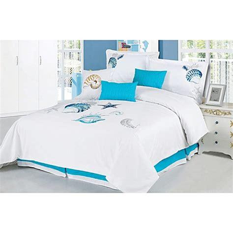 ocean bed set panama jack ocean shells 7 piece embroidered comforter set