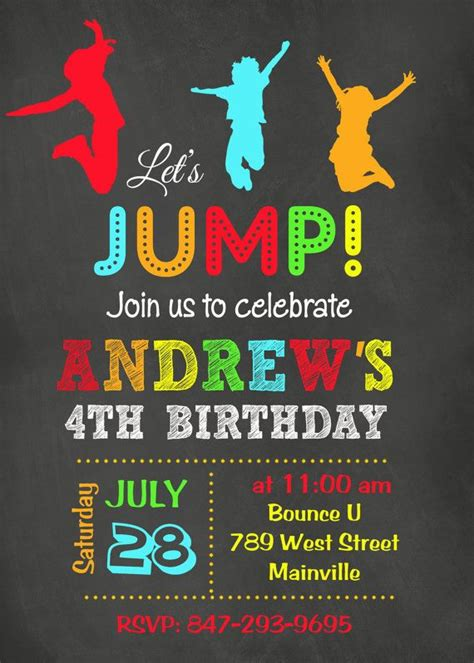 printable jump birthday invitations 17 best images about party ideas jumping on pinterest