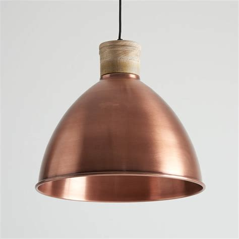 Wood Pendant Light Antique Copper And Wood Pendant Light By Horsfall