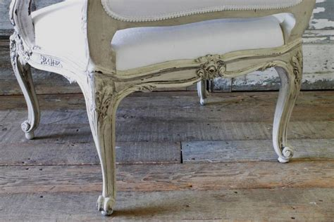 louis xv painted armchair in homespun linen at 1stdibs