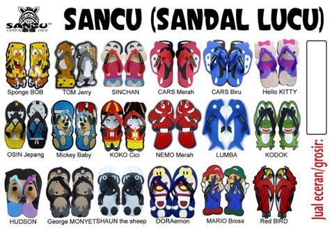 jual sandal lucu  berbagai macam tokoh kartun