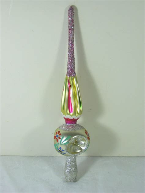 vintage mercury glass ornament tree topper christmas colorful