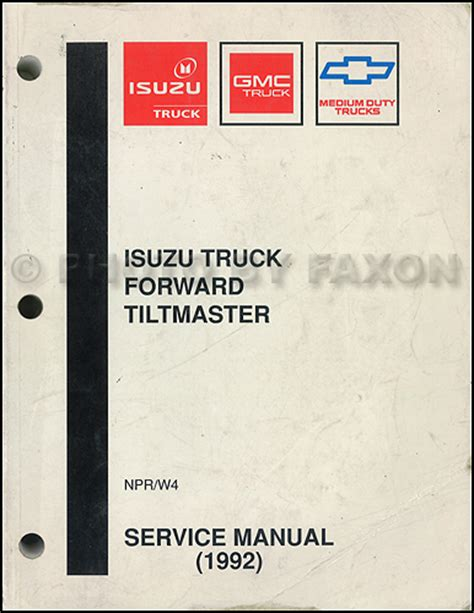 what is the best auto repair manual 1992 pontiac bonneville interior lighting 1992 npr and w4 repair shop manual original isuzu chevy gmc