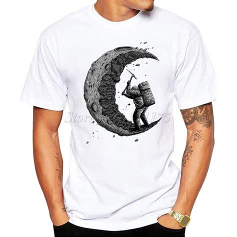 design t shirt high quality 2016 summer fashion digging the moon design t shirt men s