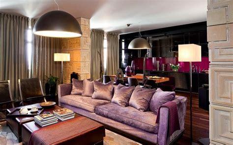 modern interior design  decor  purple color shades